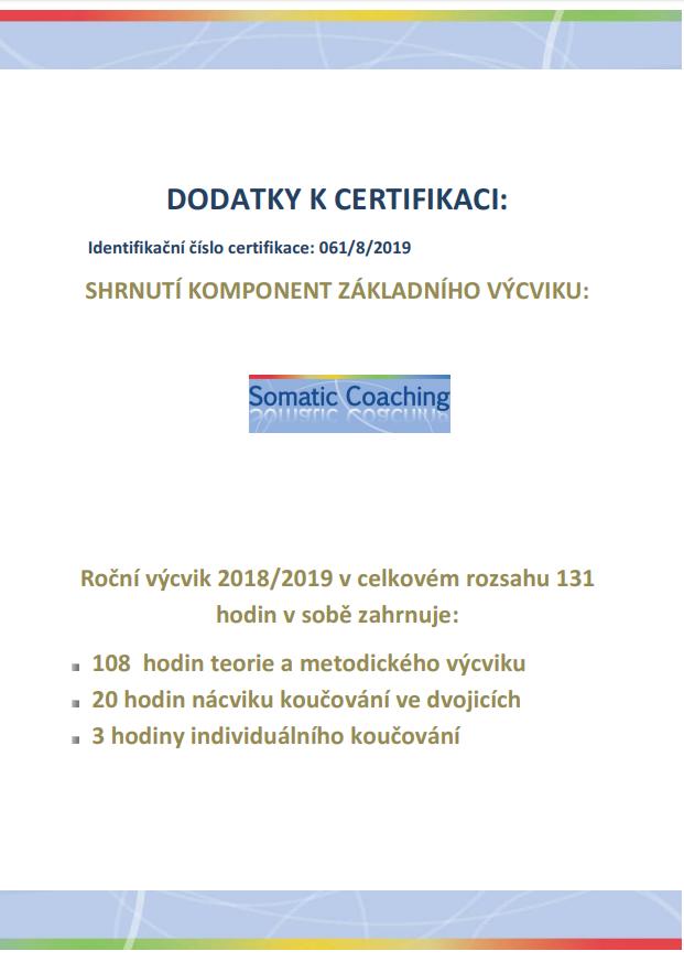 Certifikát oabsolvování kurzu Somatického koučování
