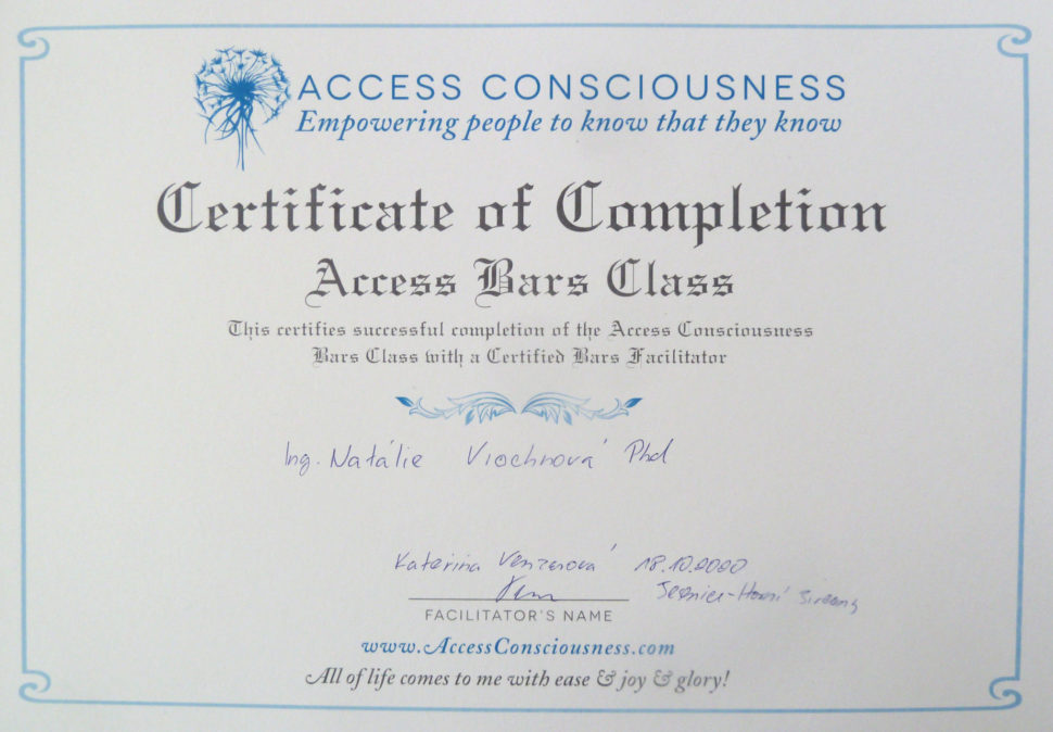 Certifikát oabsolvování Access Consciousness Bars Class